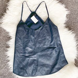 J Crew Collection Carrie Cami Leather Navy